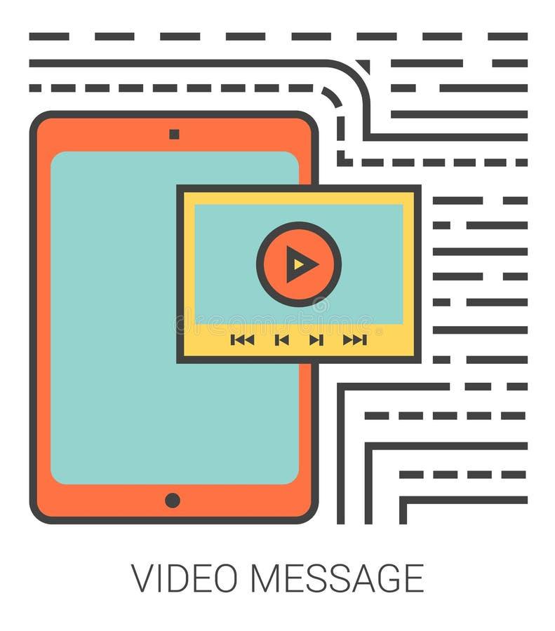 Video meddelandelinje symboler royaltyfri illustrationer