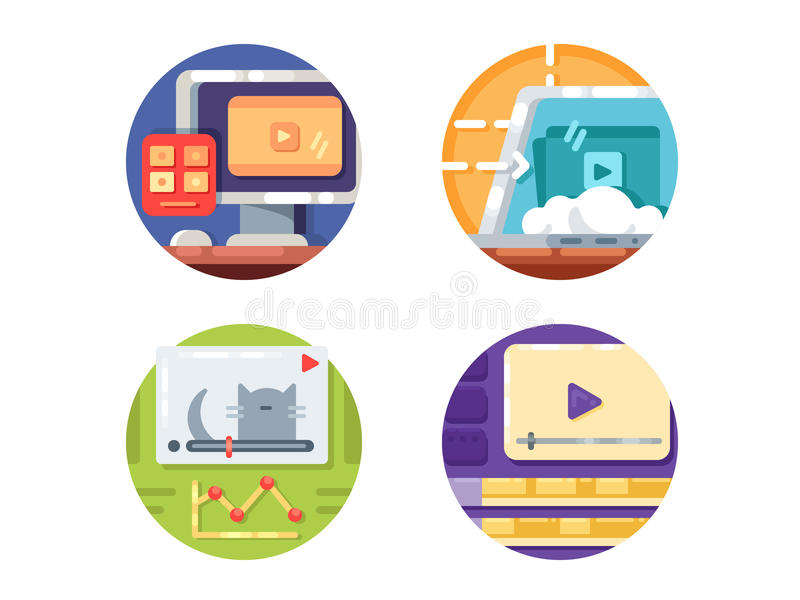 Video media icons. Create and downloading video to internet. Vector illustration. Pixel perfect icons size - 128 px stock illustration