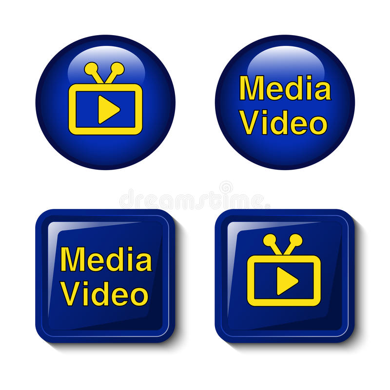 Video Media Icons For Tv Screen - Buttons Royalty Free Stock Image