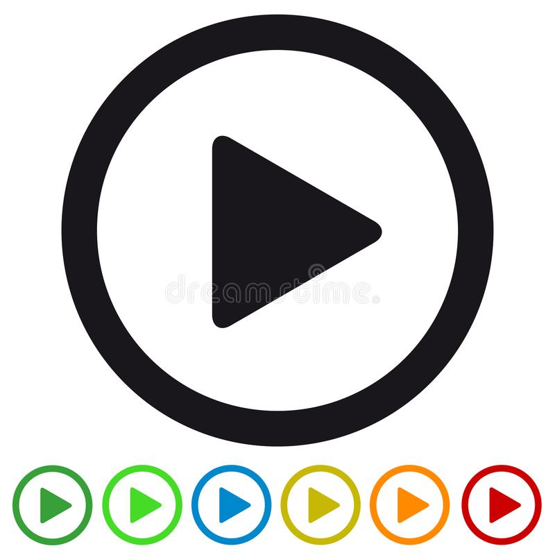 Video Media Play Button Flat Icon For Apps And Websites - Colorful Vector Illustration - Isolated On White vector illustration