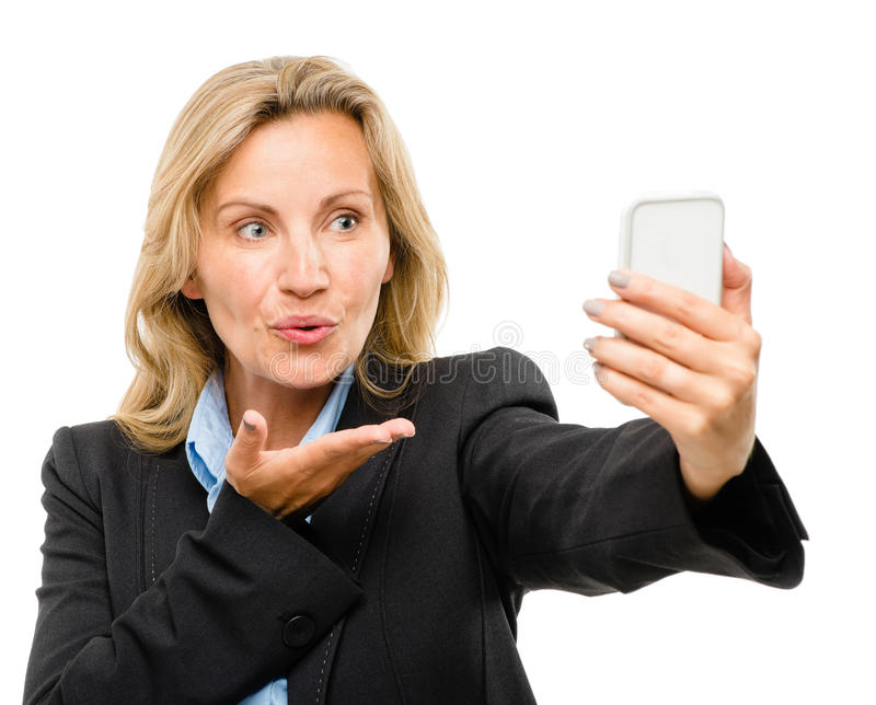 Download Video Messaging Mobile Phone Woman Happy Mature Isolated On Whit Stock Image - Image: 31642931