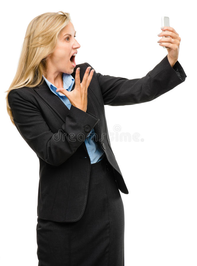 Download Video Messaging Mobile Phone Woman Unhappy Mature Isolated On Wh Stock Image - Image: 31645643