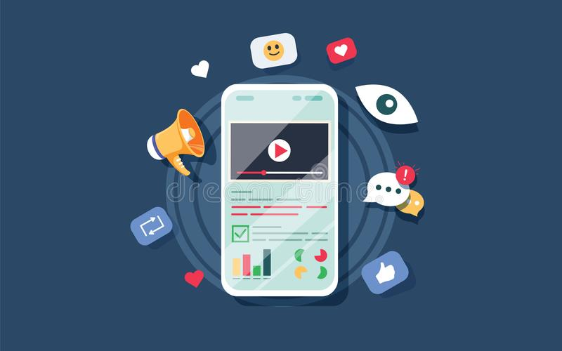 Video on mobile screen, video sharing and marketing flat vector concept with icons stock illustration