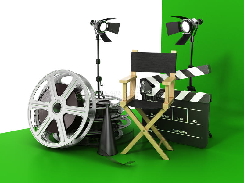 Video, movie, cinema concept. Light, film strip, reels, clapperboard and director chair on the green film background royalty free illustration