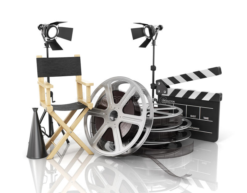 Video, movie, cinema concept. Light, film strip, reels, clapperboard and director chair on the white film background stock illustration