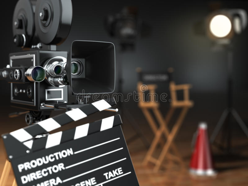 Video, movie, cinema concept. Retro camera, flash, clapperboard. And director's chair in dark studio with dof effect. 3d royalty free illustration