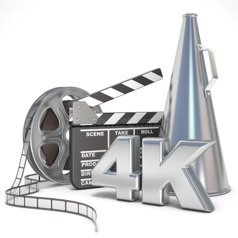 Video, movie, cinema production concept. Reels, clapperboard, megaphone and 4K. 3D vector illustration