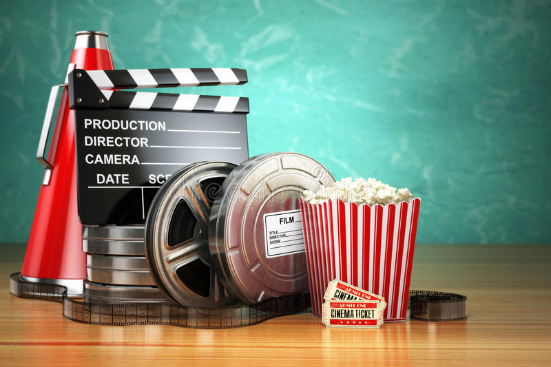 Video, movie, cinema vintage production concept. Film reels, clapperboard, tickets, popcorn and megaphone. royalty free illustration