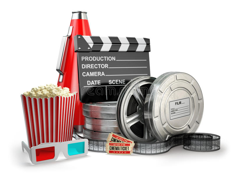 Video, movie, cinema vintage production concept. Film reels, clapperboard, tickets, popcorn and megaphone on white isolated background. 3d stock illustration