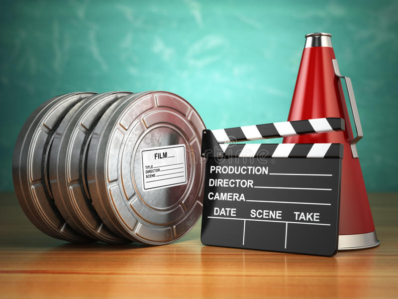 Video, movie, cinema vintage production concept. Reels, clapperboard and megaphone. 3d stock illustration