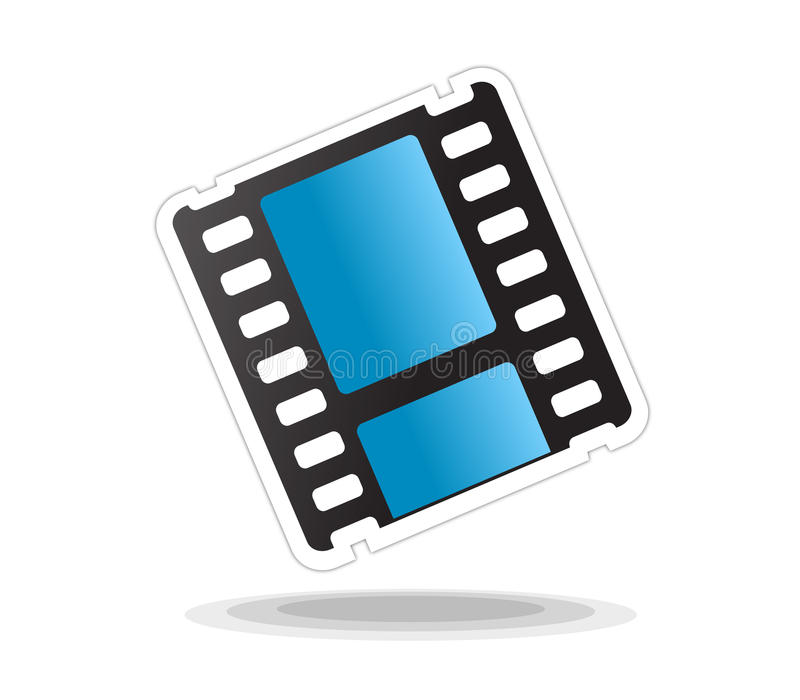 Video movie icon isolated. Vectored illustration of icon for movie and video editing and related web sites as film strip with shadow and rounded corners