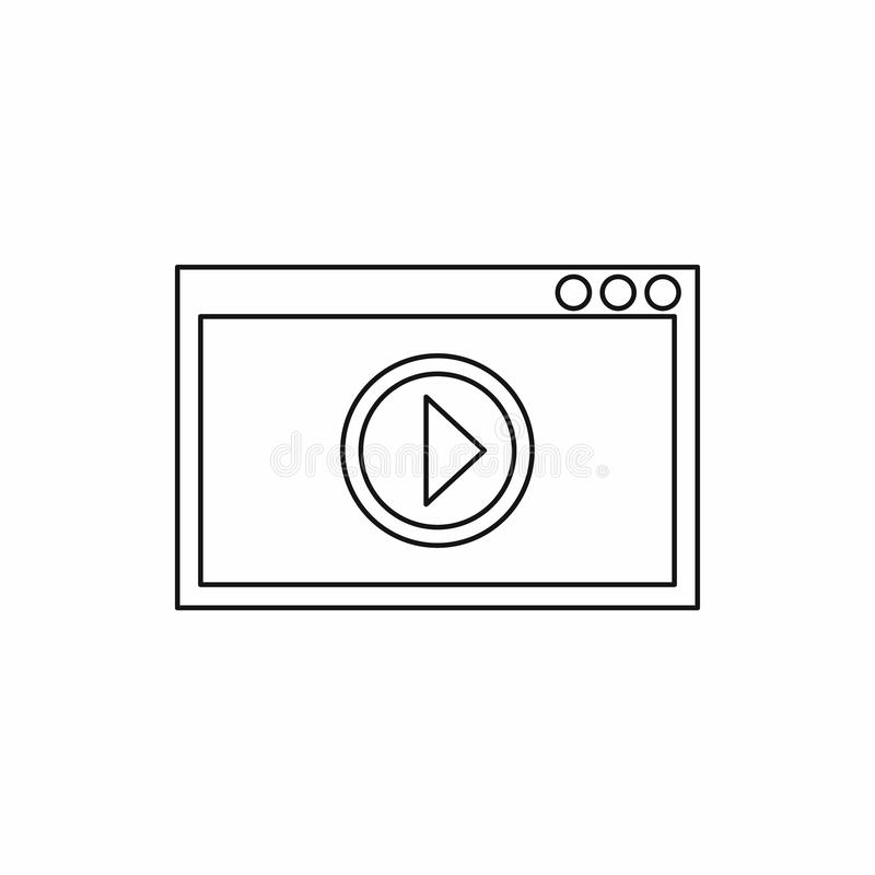 Video movie media player icon, outline style. Video movie media player icon in outline style on a white background stock image