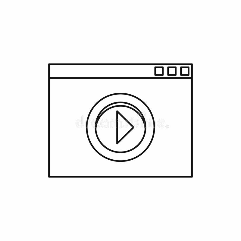 Video movie media player icon, outline style. Video movie media player icon in outline style on a white background stock images