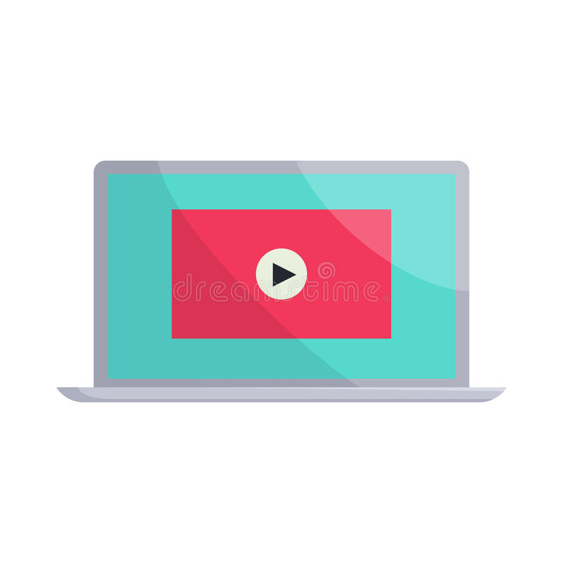 Download Video Movie Media Player On The Laptop Icon Editorial Stock Image