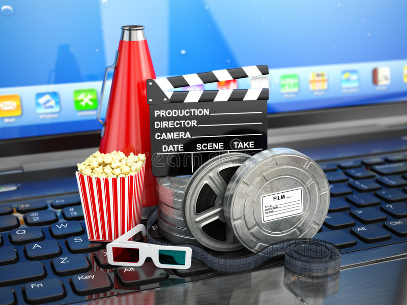 Video or movie online internet concept. Film reels, clapperboard. And pop corn on laptop keyboard. 3d royalty free illustration
