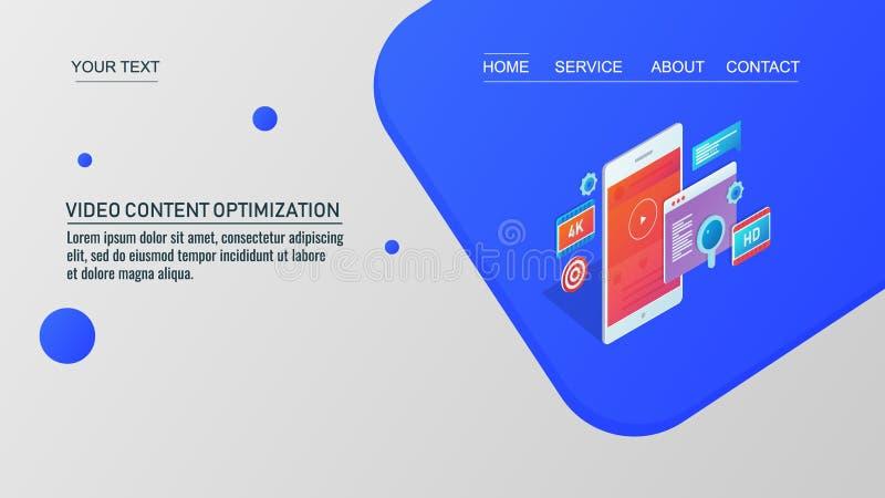 Video nöjd marknadsföring, video optimization, digital marknadsföring, social massmediabefordran, visuellt begrepp, isometrisk stock illustrationer