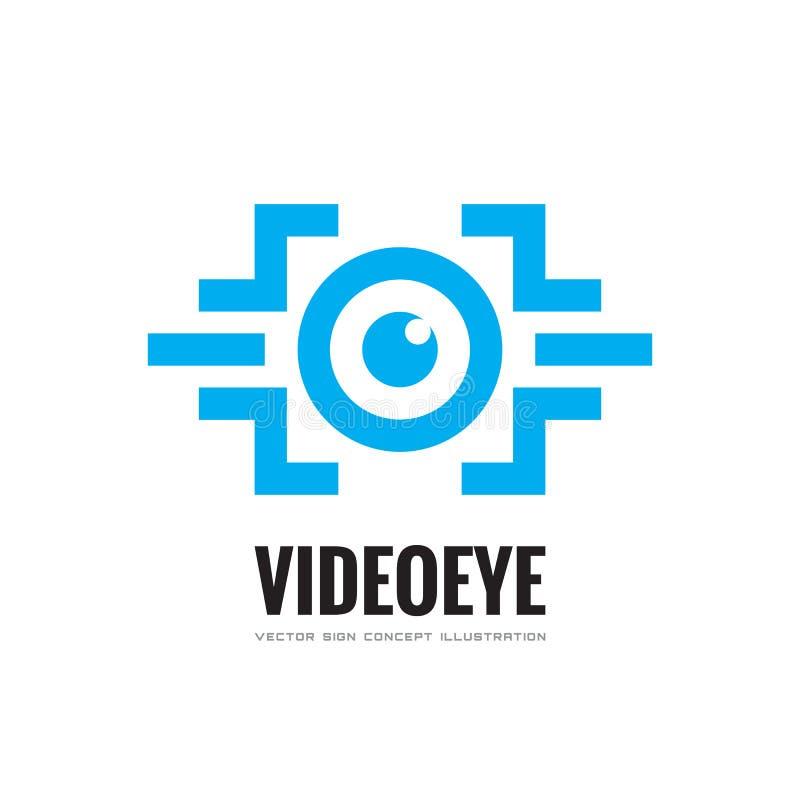 Video occhio - vector l'illustrazione di concetto del modello di logo di affari Segno creativo di tecnologia moderna & futura di  illustrazione vettoriale