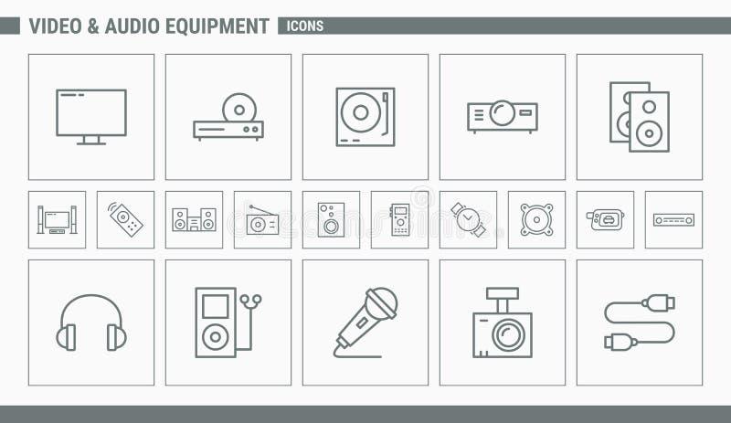 Video- och ljudutrustningsymboler - ställ in rengöringsduk och mobil 01 stock illustrationer