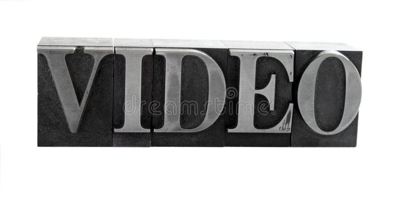 VIDEO in old metal type stock photography