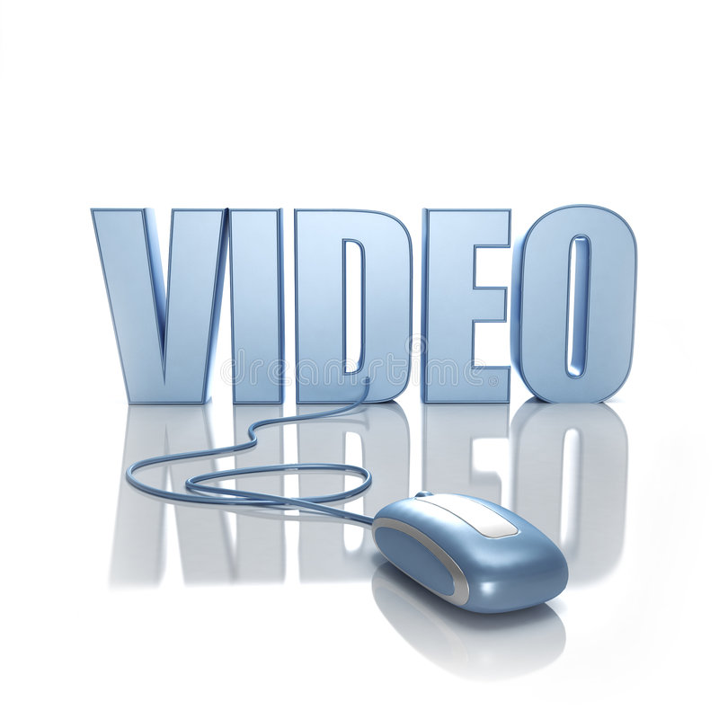 Video online. Word Video in blue letters connected to a blue computer mouse on a white background