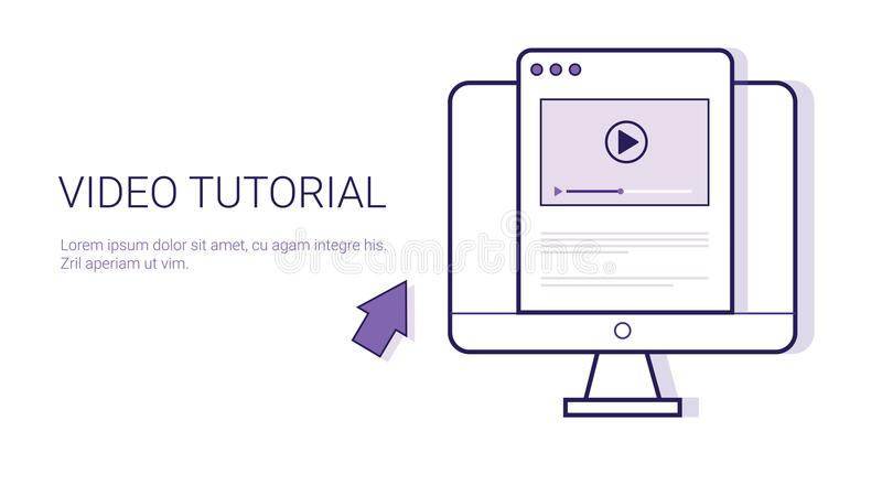 Video Online het Webbanner Van een privé-leraar Onderwijs van het Bedrijfsconceptenmalplaatje met Exemplaarruimte vector illustratie