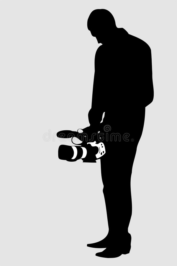 Video operator. Silhouette of cameraman (with vector