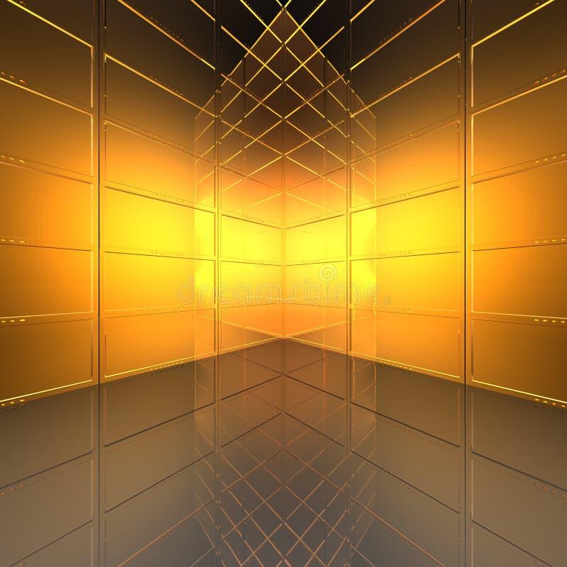 Video parete con gli schermi illustrazione di stock