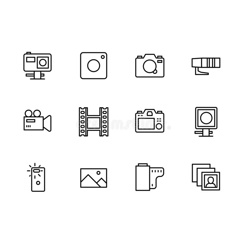 Video and photo camera setting icon simple symbols set. Contains icon action, mobile, photo, video camera. Portrait and. Video and photo camera setting icon vector illustration