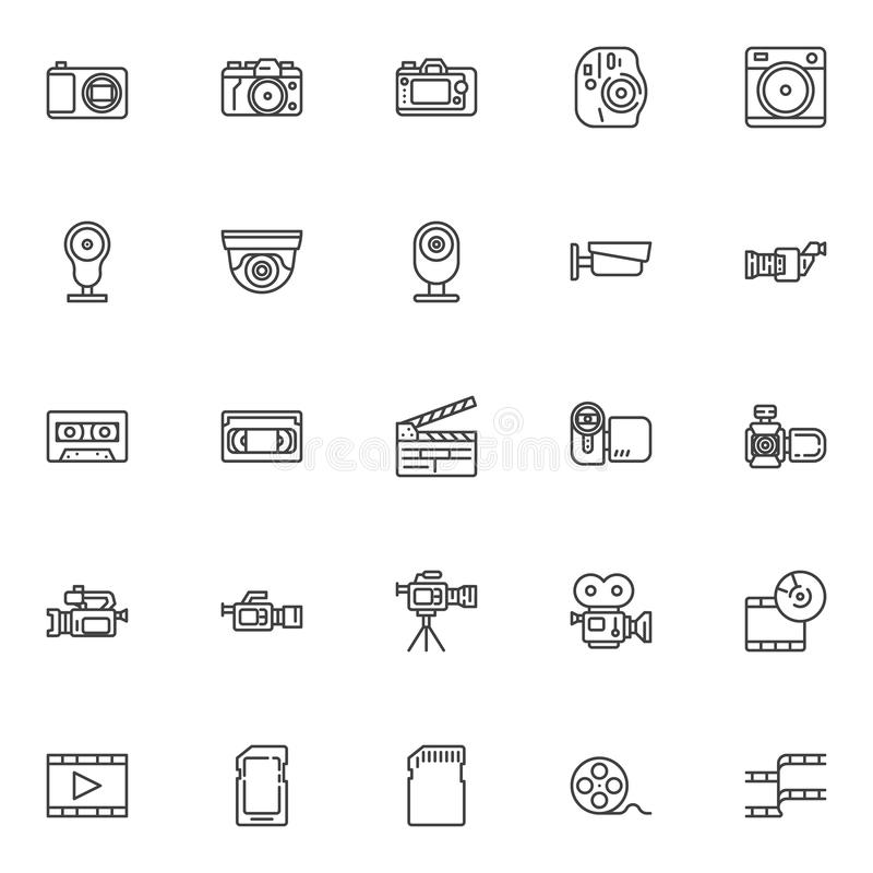 Video and photo line icons set royalty free illustration