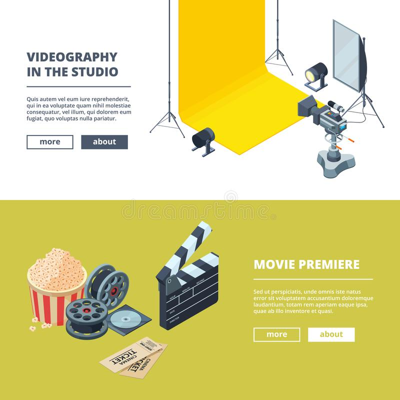Video and photo production. Vector template of horizontal banners. Studio film movie, video clapboard and equipment illustration stock illustration