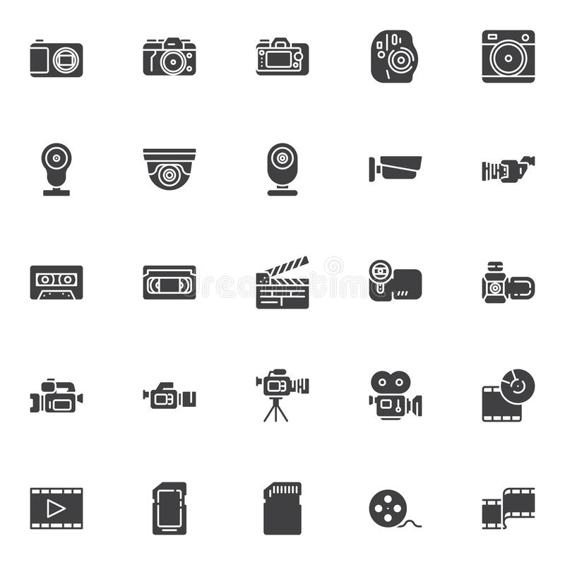 Video and photo vector icons set. Modern solid symbol collection, filled style pictogram pack. Signs, logo illustration. Set includes icons as movie camera royalty free illustration