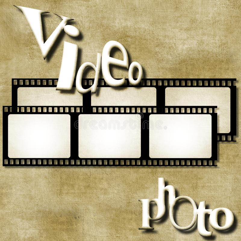 Video and photo words on film strip background. Business concept. Video and photo words on film strip background stock illustration