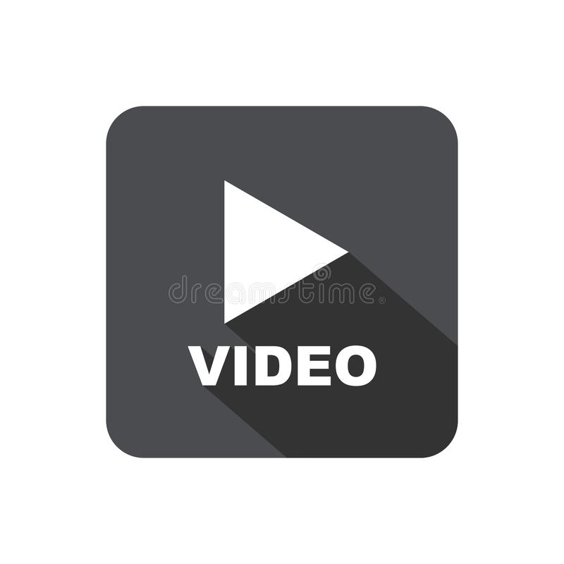 Video play button with shadow stock illustration