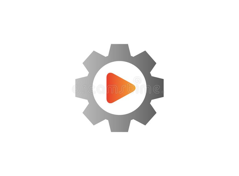 Video play icon inside a gear pinion for logo design vector illustration