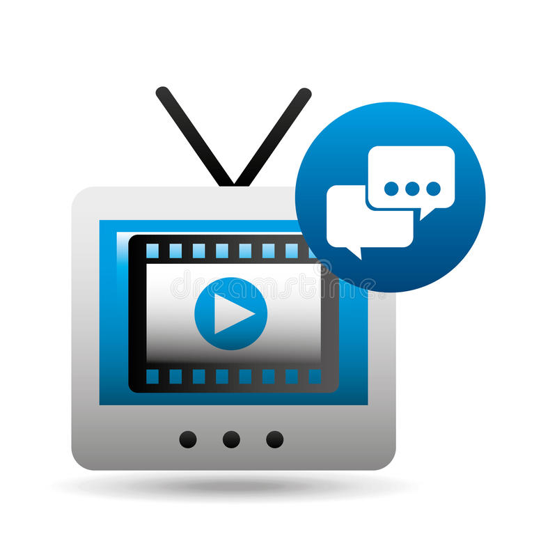 Video player bubble speak tv icons. Vector illustration eps 10 stock images