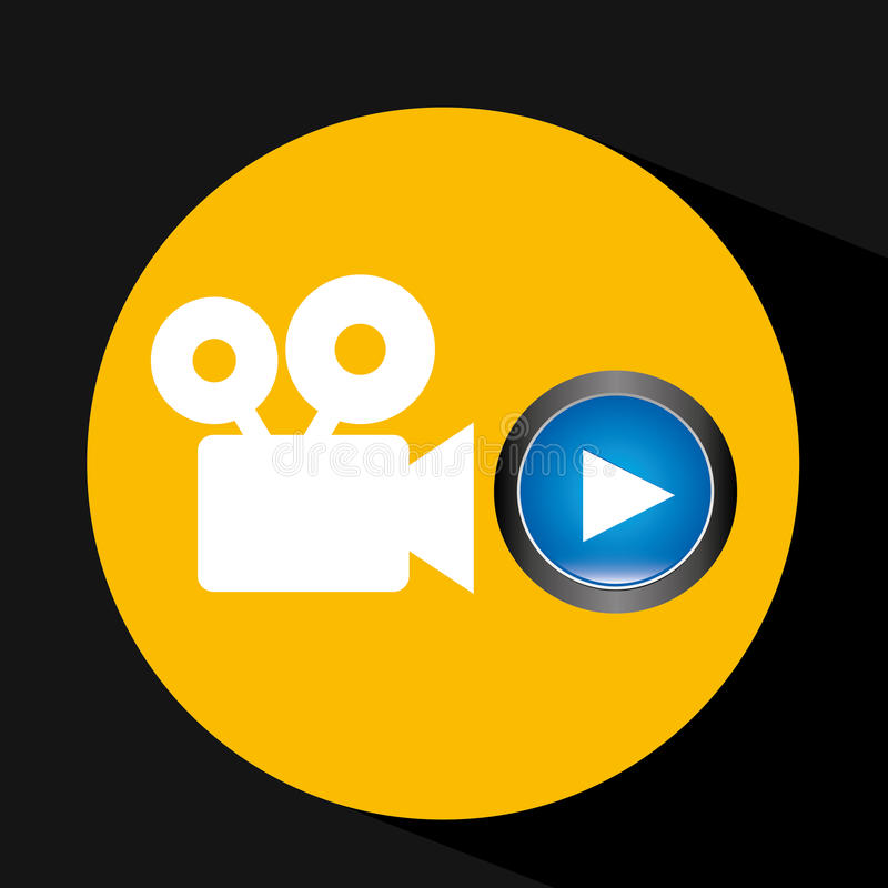 Video player button film camera icon graphic. Vector illustration eps 10 stock illustration