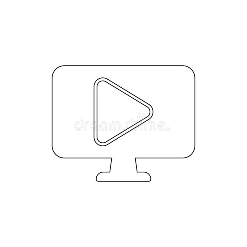 Video player computer outline icon. Signs and symbols can be used for web, logo, mobile app, UI, UX stock illustration