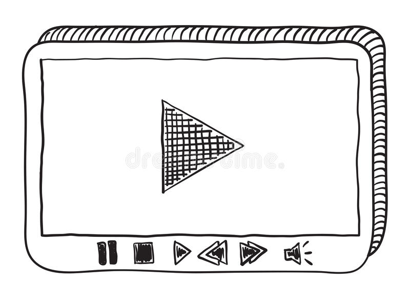 Video player doodle. Black ad white raster illustration of video player