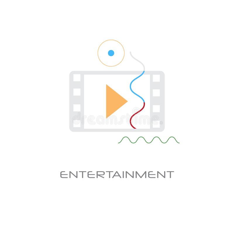 Video player entertainment multimedia application concept line style isolated. Vector illustration royalty free illustration