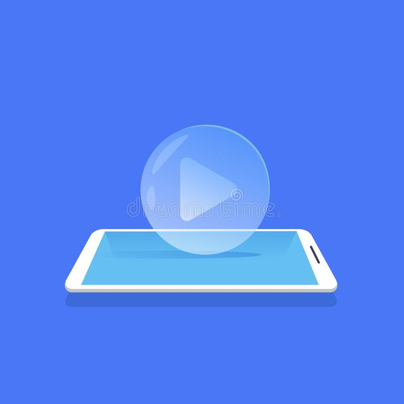 Video player icon media streaming mobile application blue background flat vector illustration