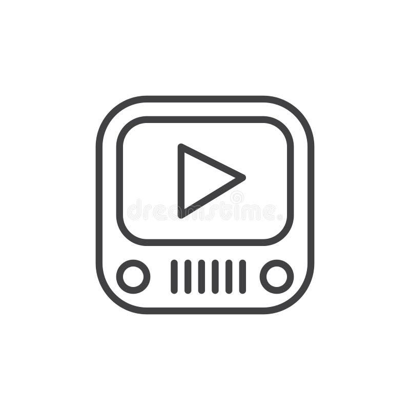 Video-Player-Linie Ikone, Entwurfsvektorzeichen, lineares Artpiktogramm lokalisiert auf Weiß vektor abbildung