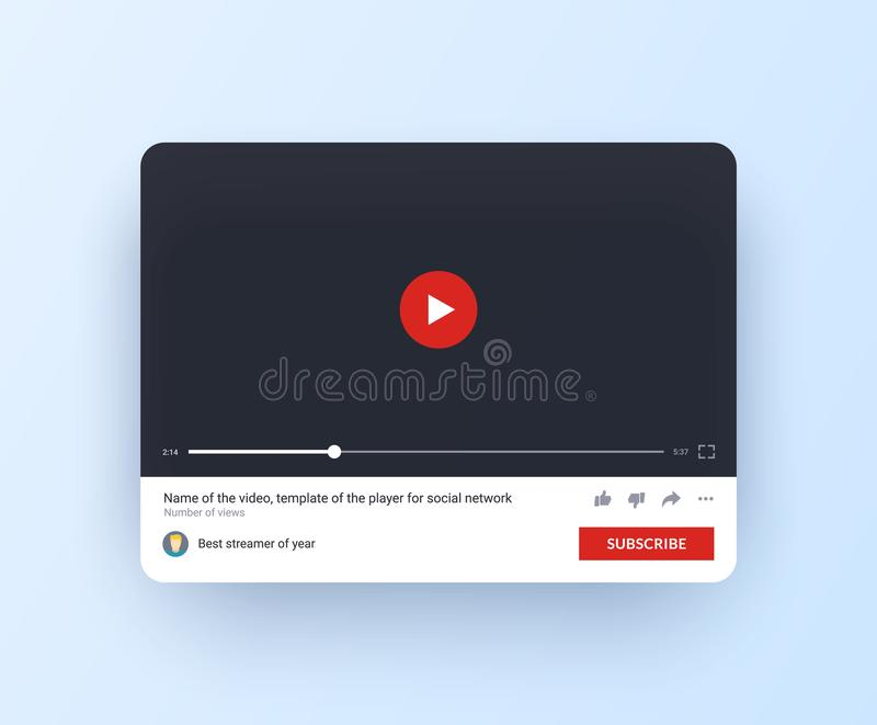 Video player mock up for web site and mobile app. Interface of online channel with subscribe button in flat style. stock illustration