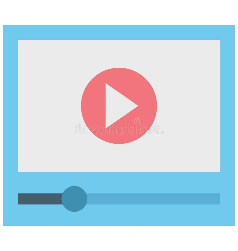 Video-Player, strömendes Video, lokalisierte Vektorikonen, die leicht geändert werden oder redigieren können lizenzfreie abbildung