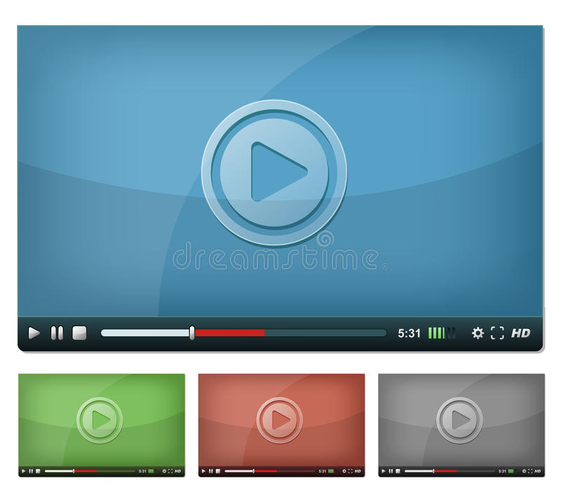 Video Player For Web And Tablet PC stock illustration