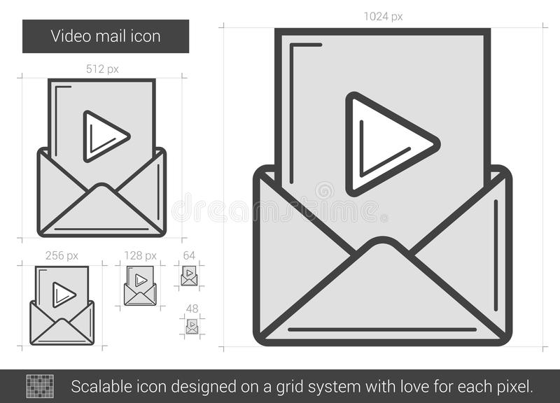 Video postlinje symbol royaltyfri illustrationer