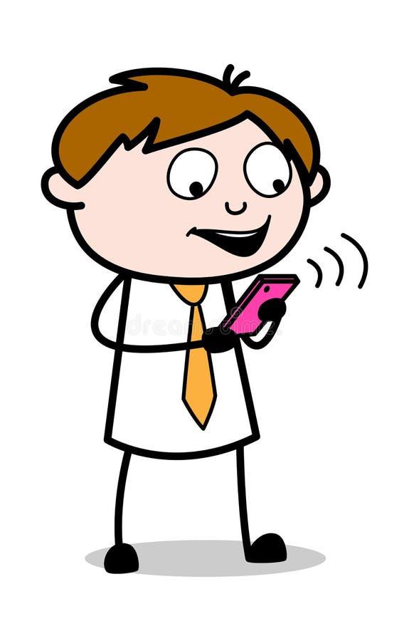Video pratstund - kontorsrepresentantEmployee Cartoon Vector illustration royaltyfri illustrationer