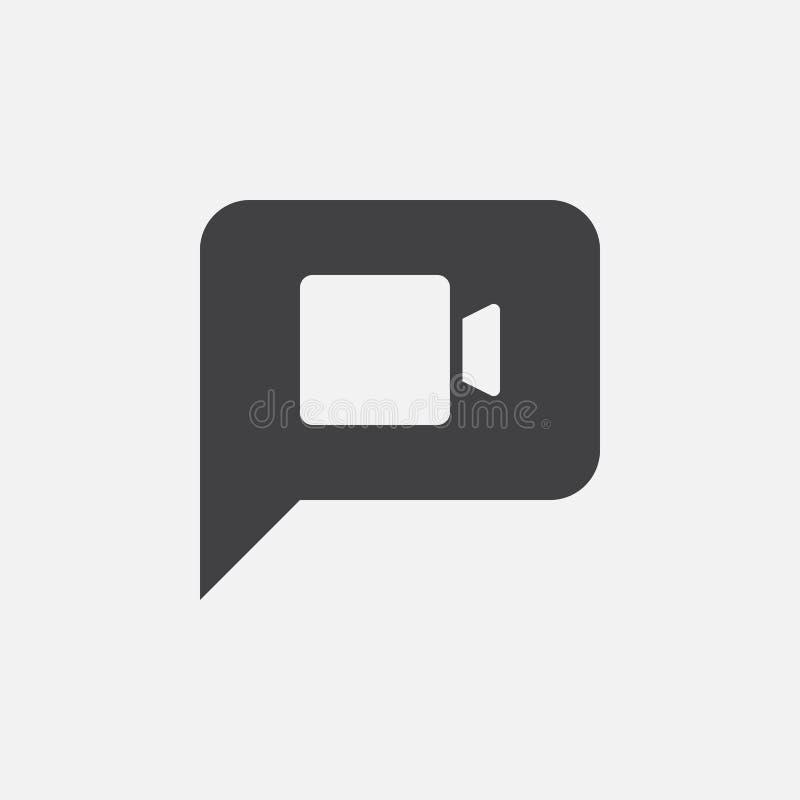 Video pratstundsymbol, vektorlogoillustration, pictogram som isoleras på vit vektor illustrationer