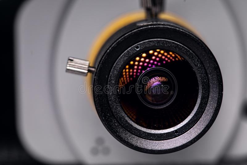 Video primo piano dell'obiettivo Controllo ventiquattr'ore su ventiquattro fotografia stock