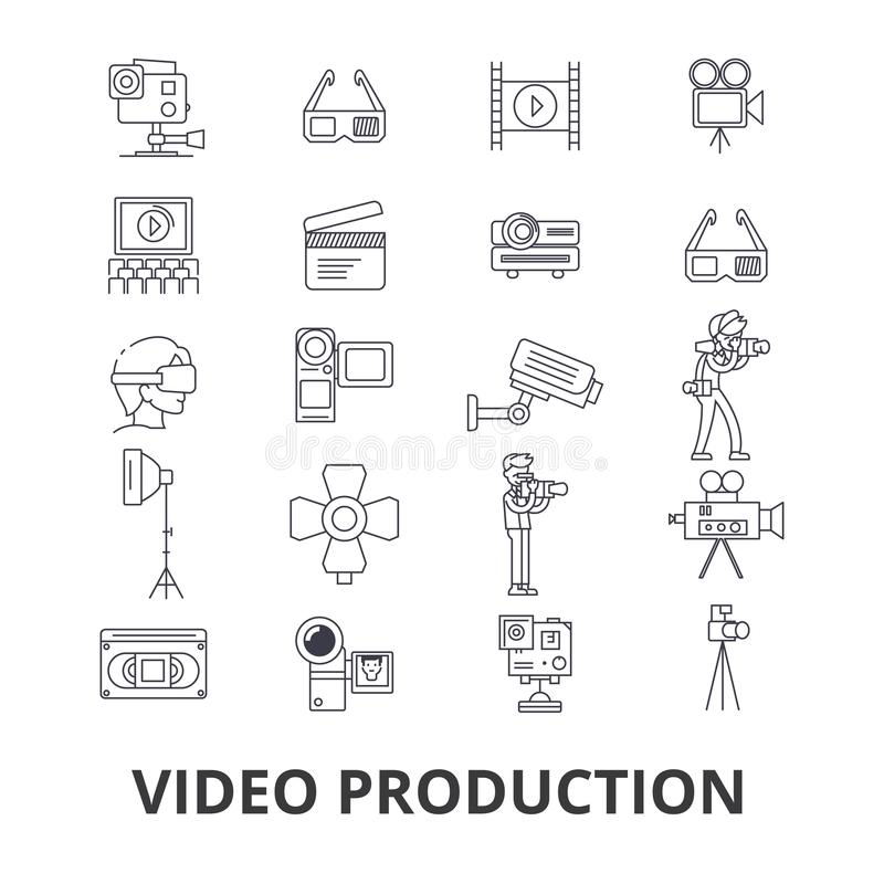 Video production, camera, editing, film, cinema, movie shoot, player line icons. Editable strokes. Flat design vector royalty free illustration