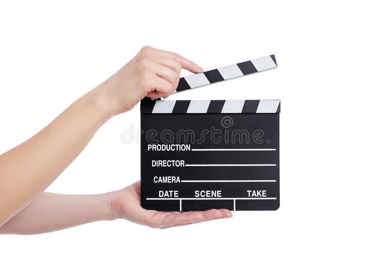 Video production concept - female hands holding clapper board isolated on white royalty free stock photography